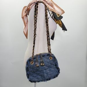 Trussardi Blue Wool Quilted Frayed Bag Chain